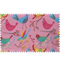 Kids pink yellow singing birds poly main curtain designs