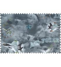 Kids military green blue air force poly main curtain designs