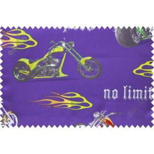 Kids blue yellow bikes poly main curtain designs