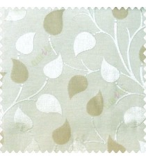 Light brown beige color natural longleaf pattern horizontal stripes small hanging leaf on stem polyester main curtain
