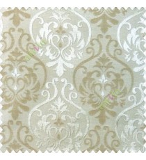 Light brown beige color traditional damask design with horizontal background stripes polyester main curtain