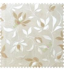 Light brown beige color natural floral leaf pattern hanging longleaf on the trendy stem horizontal stripes polyester main curtain