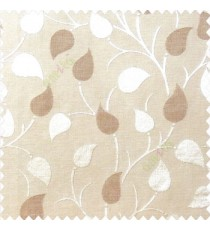 Brown beige color natural longleaf pattern horizontal stripes small hanging leaf on stem polyester main curtain