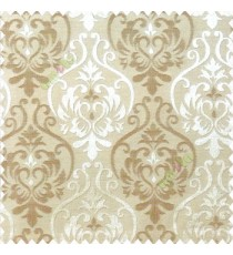 Brown beige color traditional damask design with horizontal background stripes polyester main curtain