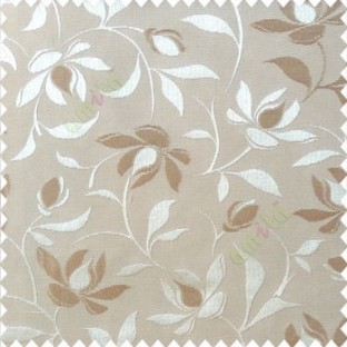 Beige cream color natural floral leaf pattern hanging longleaf on the trendy stem horizontal stripes polyester main curtain