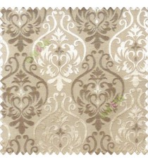 Dark brown and light brown color traditional damask design with horizontal background stripes polyester main curtain