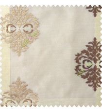 Brown beige color traditional embroidery damask pattern with transparent material with horizontal thin stripes polyester sheer curtain