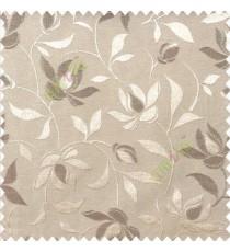 Brown beige color natural floral leaf pattern hanging longleaf on the trendy stem horizontal stripes polyester main curtain
