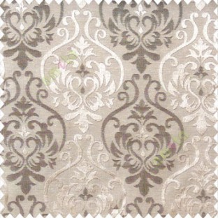 Dark brown with light brown color traditional damask design with horizontal background stripes polyester main curtain