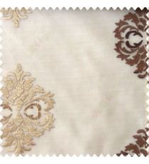 Dark chocolate brown with beige color traditional embroidery damask pattern with transparent material with horizontal thin stripes polyester sheer curtain
