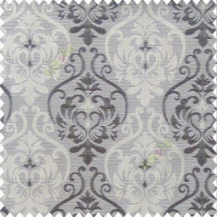 Black and beige color traditional damask design with horizontal background stripes polyester main curtain
