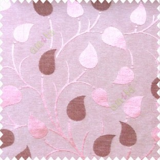 Purple pink color natural longleaf pattern horizontal stripes small hanging leaf on stem polyester main curtain