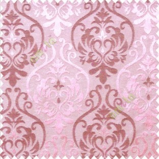 Pink purple color traditional damask design with horizontal background stripes polyester main curtain