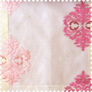 Pink beige color traditional embroidery damask pattern with transparent material with horizontal thin stripes polyester sheer curtain