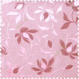 Pink purple color natural floral leaf pattern hanging longleaf on the trendy stem horizontal stripes polyester main curtain