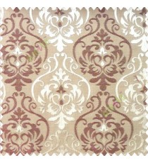 Maroon brown color traditional damask design with horizontal background stripes polyester main curtain