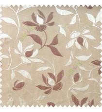 Maroon brown color natural floral leaf pattern hanging longleaf on a trendy stem horizontal stripes polyester main curtain