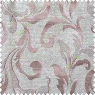 Brown beige color traditional floral big leaf design swirls hanging leaf pattern polyester main curtain