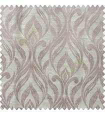 Brown beige color traditional floral design vertical damask pattern swirls longleaf texture surface polyester main curtain