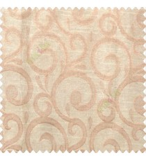 Beige brown color swirls pattern traditional rainwater drop fish semi circles design polyester main curtain