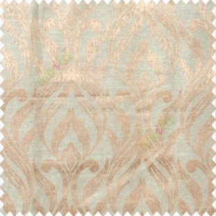 Beige brown color traditional floral design vertical damask pattern swirls longleaf texture surface polyester main curtain