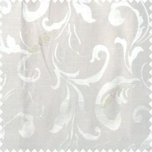 Beige color traditional floral big leaf design swirls hanging leaf pattern polyester main curtain