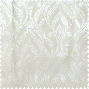Beige color traditional floral design vertical damask pattern swirls longleaf texture surface polyester main curtain