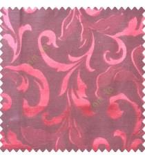 Red black color traditional floral big leaf design swirls hanging leaf pattern polyester main curtain
