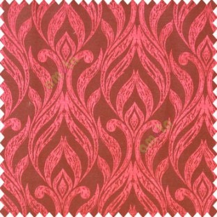 Red black color traditional floral design vertical damask pattern swirls longleaf texture surface polyester main curtain