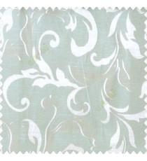 Green beige color traditional floral big leaf design swirls hanging leaf pattern polyester main curtain