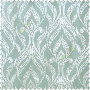 Green beige color traditional floral design vertical damask pattern swirls longleaf texture surface polyester main curtain