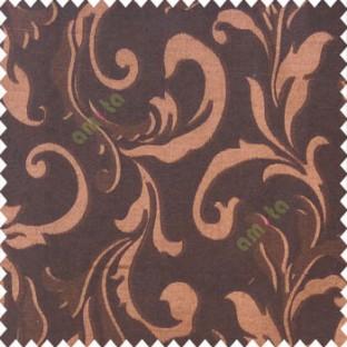 Brown black color traditional floral big leaf design swirls hanging leaf pattern polyester main curtain