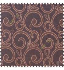 Brown black color swirls pattern traditional rain water drop fish semi circles design polyester main curtain