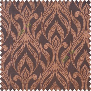 Brown black color traditional floral design vertical damask pattern swirls longleaf texture surface polyester main curtain