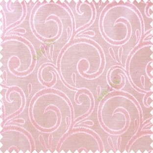 Pink beige color swirls pattern traditional rain water drop fish semi circles design polyester main curtain