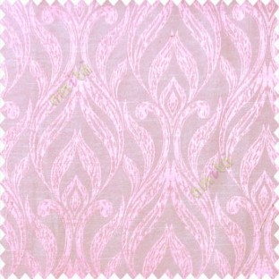 Pink beige color traditional floral design vertical damask pattern swirls longleaf texture surface polyester main curtain