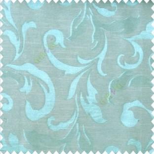 Blue beige color traditional floral big leaf design swirls hanging leaf pattern polyester main curtain