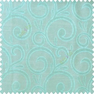 Blue beige color swirls pattern traditional rain water drop fish semi circles design polyester main curtain