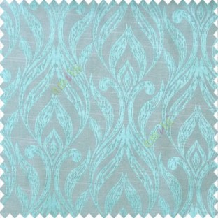Blue beige color traditional floral design vertical damask pattern swirls longleaf texture surface polyester main curtain