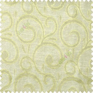 Green beige color swirls pattern traditional rain water drop fish semi circles design polyester main curtain