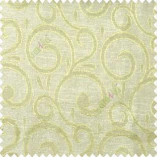 Green beige color swirls pattern traditional rain water drop fish semi circles design polyester main curtain
