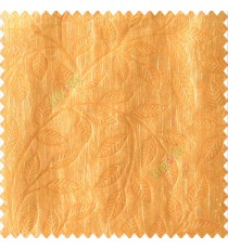 Mustard yellow color beautiful floral self-leaf design engraved small leaves on vertical texture lines patterns fabric polyester main curtain