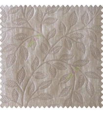 Grey color beautiful floral self-leaf design engraved small leaves on vertical texture lines patterns fabric polyester main curtain