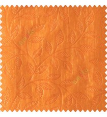 Orange yellow color beautiful floral self-leaf design engraved small leaves on vertical texture lines patterns fabric polyester main curtain