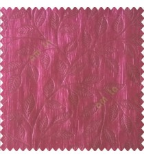 Dark purple color beautiful floral self-leaf design engraved small leaves on vertical texture lines patterns fabric polyester main curtain