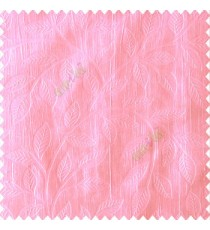 Baby pink color beautiful floral self-leaf design engraved small leaves on vertical texture lines patterns fabric polyester main curtain