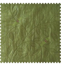 Green color beautiful floral self-leaf design engraved small leaves on vertical texture lines patterns fabric polyester main curtain