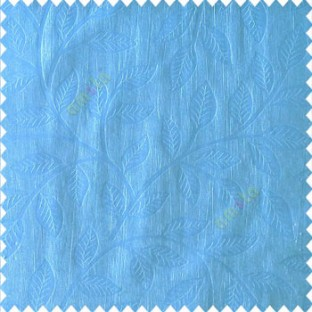 Sky blue color beautiful floral self-leaf design engraved small leaves on vertical texture lines patterns fabric polyester main curtain
