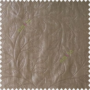 Brownish grey color beautiful floral self leaf design engraved small leaves on vertical texture lines patterns fabric polyester main curtain