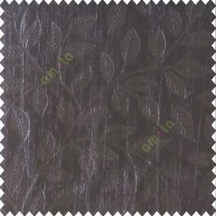 Pure black color beautiful floral self leaf design engraved small leaves on vertical texture lines patterns fabric polyester main curtain